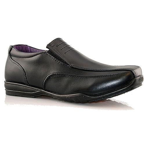 US Brass Boys Teen Black Hard Wearing Touch Fastening School Shoes Size 1-6