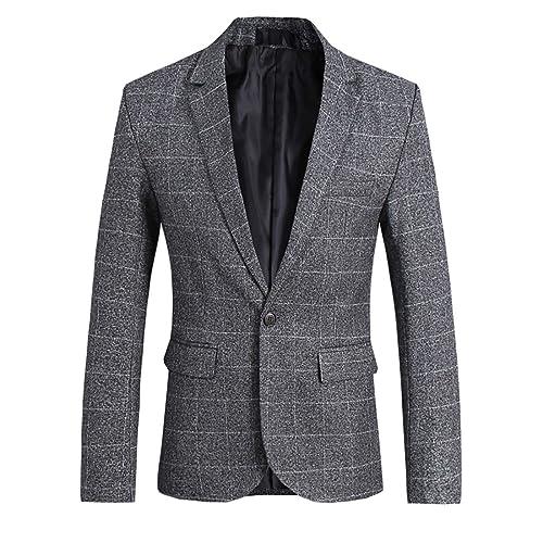 FTIMILD Mens Plaid Suit Jacket Classic Oxford Blazers Slim Fit Formal Dinner Coat one Button Regular Fit Blue L