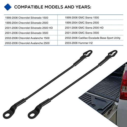 Best In Auto 1999-2006 Compatible with Chevy Avalanche//Silverado GMC Sierra Cadillac Escalade Hummer H2 Truck Tailgate Cables Strap Single