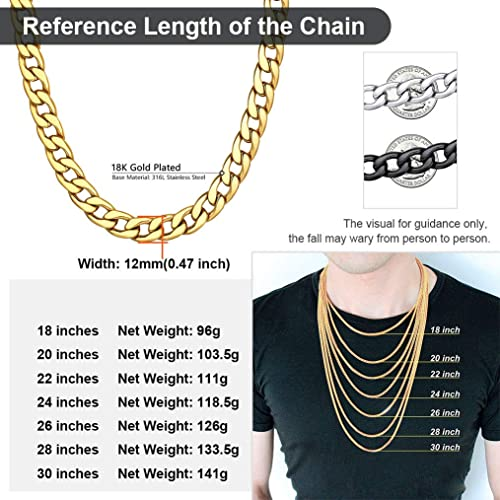 Pouch Velvet+Gift Box ChainsPro Mens Womens Round Curb Cuban Chain Necklace 5//9//12//15mm,Smooth 18K Gold Plated//Black//Stainless Steel Necklace Link Chain,36,46,51,56,61,66,71,76cm