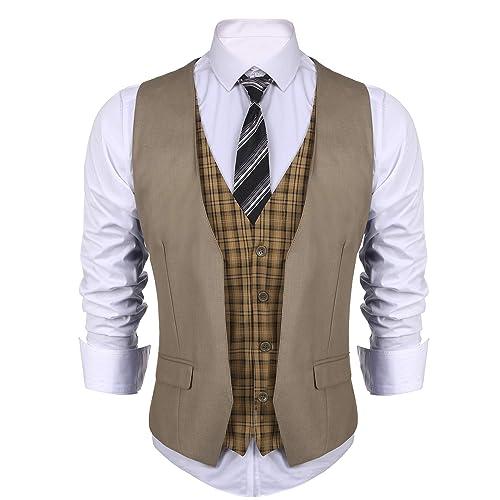 Dinner 21SuitVest COOFANDY Mens Business Suit Vest layered Plaid Dress Waistcoat for Wedding Date