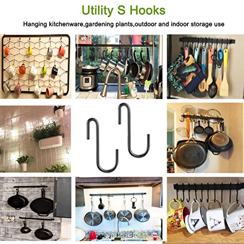 Pan Plants,Jewelries Bag HiGift 20 Pack Heavy Duty S Hooks Silver S Shaped Hooks for Hanging Pot-Bakers Rack Hooks Wire Shelf Hooks Kitchen Bathroom Bedroom Office Pot