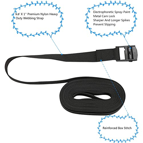 BlueCosto 1 x 8 Lashing Strap Tie Down Straps Pack of 2 Rated 500 Lbs Black
