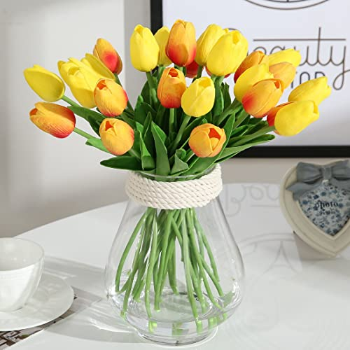 JUSTOYOU Artificial Tulips Flowers Fake Tulips Bouquets Wedding Decoration