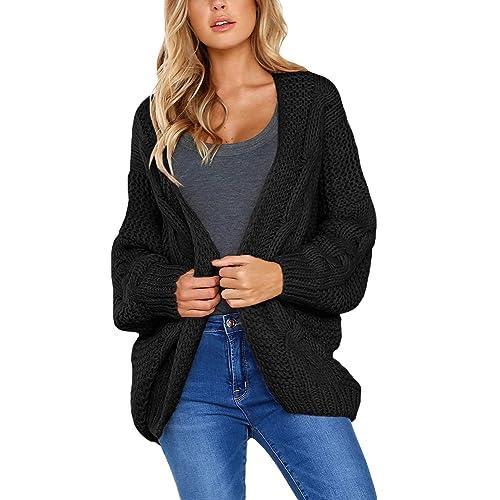 Arainlo Womens Open Front Cardigan Lightweight Batwing Long Sleeve Knitted Sweatshirt Tops Outwear 8-18