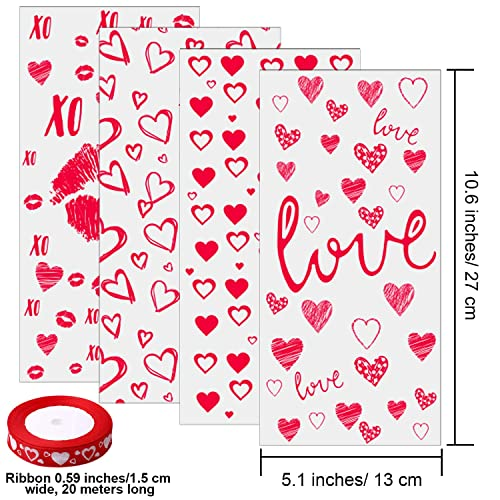 Aneco 100 Pack Valentine Cellophane Bags Valentines Day Cookie Candy Bags Plastic Valentine Gift Bags Clear Cellophane Bags 4 Styles with Heart Ribbon for Valentine Party Favor Supplies