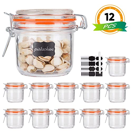 12 Pack Stock Your Home 3 Oz Airtight Glass Jar with Leak Proof Rubber Gasket