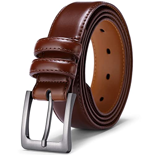 Brown Classic Genuine Leather Office Career Dress Business Belt 1-3//8 Wide