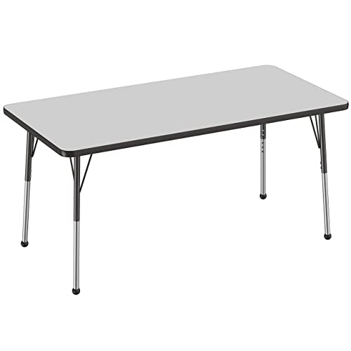 Adjustable Height 15-24 inches Toddler Legs 24 x 48 inch Gray Top and Blue Edge FDP Rectangle Activity School and Kids Classroom Table