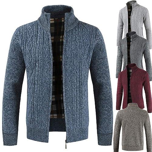 AUYUG Mens Cardigan Sweater Zipper Stand Collar Knitwear Jumper Fleece Lined Long Sleeve Winter Coat