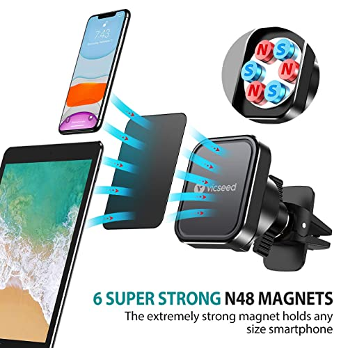 Universal Twist-Lock Air Vent Magnet Car Mount Phone Holder Hands-Free 360/° Rotation 6 Strong Magnet Compatible with iPhone Xs Max XR X 8 7 Plus Galaxy S9 S8 Plus Note 9 8 VANMASS Magnetic Mount