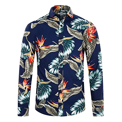 Mens Paisley Floral Aztec Hawaii Long Sleeve shirts Tailored Fit Cotton Shirts
