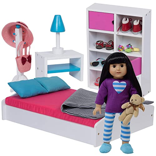 """The New York Doll Collection 12"""" Doll Bed & Bedroom Set for Dolls"""