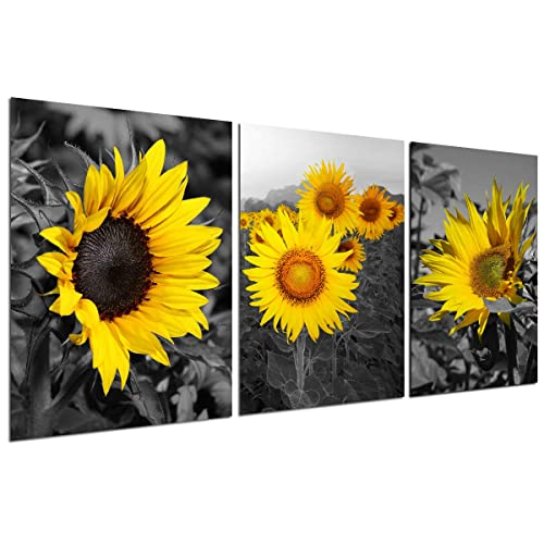 Sunflower Decor Wall Art Prints Black And White Yellow Canvas Painting Flower Plant Daisy Floral Pictures 3 Panels Unframed Bedroom Living Room Bathroom Kitchen Decoration Home Office Modern Artwork Buy