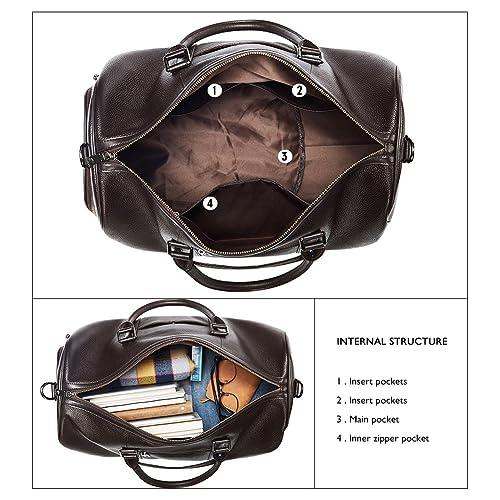 23fd04891af2 Buy BOSTANTEN Genuine Leather Travel Weekender Overnight Duffel Bag ...