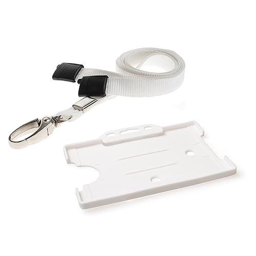 Blue STAFF ID Neck Strap Lanyard Metal Clip /& Purple Card Badge Work Pass Holder
