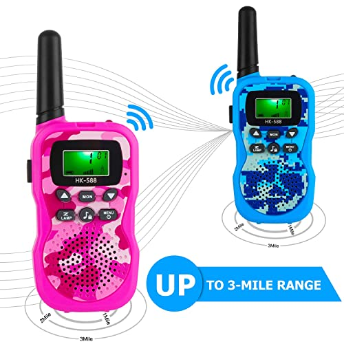 with 6xAAA Rechargeable Batteries and 3.3ft Data Cable Jollsung 2 Pack Walkie Talkies for Kids Blue /& Red up to 5KM in Open Areas 3 Channels Digital Walkie Talkies with Backlit LCD Flashlight