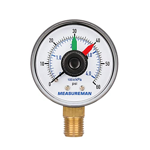 0-15Psi//0-30InH2O Maximum Pressure Memory 1/% Accuracy 3//4 FNPT Connection Measureman 4 Steel Gas Pressure Test Gauge Assembly