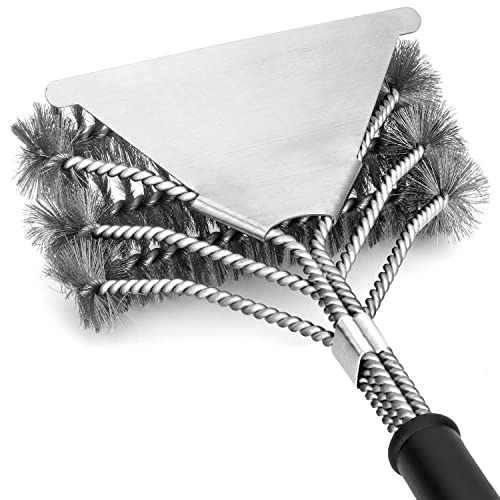 ClearSea Grill Brush and Scraper Barbecue Grilling Accessories Upgrade 18 Stainless Steel Wire 3 in 1 Bristles BBQ Cleaning Brush for Grill