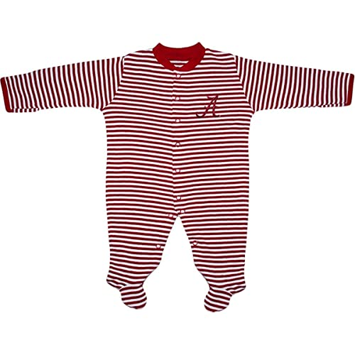 University of Alabama Crimson Tide Striped Footed Baby Romper