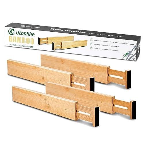 Utoplike Bamboo Kitchen Drawer Dividers 42 7 55 4 Cm Adjustable