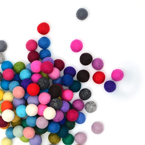 Handmade Felted 7 Pastel Colors - Bulk Small Puff for Felting and Garland Baby Pink, Lilac, Baby Blue and More 50 Pieces Wool Felt Balls Glaciart One Felt Pom Poms 0.8 Inch 2 Centimeters
