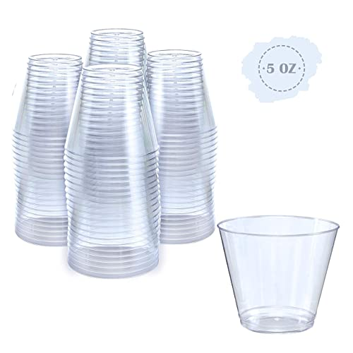 ef343a1c0b2 Small Clear Plastic Cups | 5 oz. 100 Pack | Hard Disposable Cups | Plastic  Wine Cups | Plastic Cocktail Glasses | Plastic Drinking Cups | Plastic  Party ...