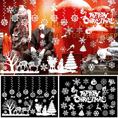 2pcs Christmas Window Stickers Reusable Snowflake Sticker Home Shop Art Decal