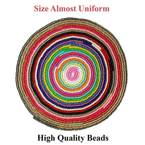 1000pcs//Color, 24 Colors Hole 0.6mm BALABEAD Size Uniform Seed Beads 24000pcs in Box Opaque Color Seed Beads 24 Multicolor Assortment 12//0 Glass Craft Beads 2mm Seed Beads for Jewelry Making