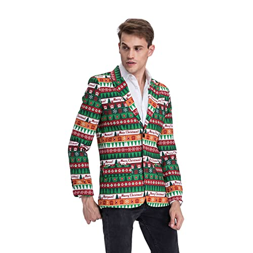 Mens Black Printing Christmas Jacket Funny Men Coat Notch Lapel Slim Fit Party Blazer