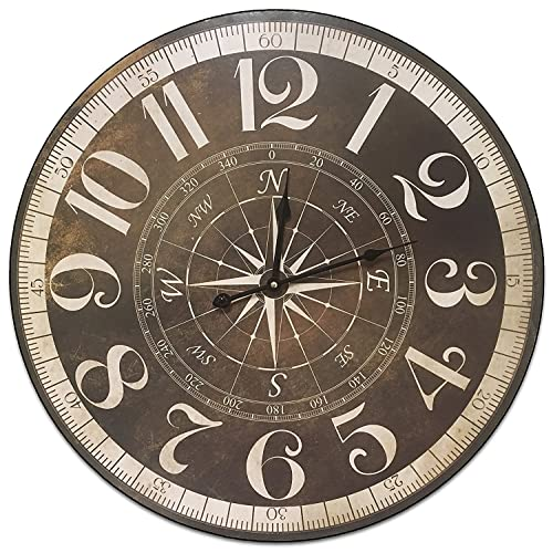 Buy Hdc International Round Brown And Tan Compass Decorative Wall Clock With Big Roman Numerals And Distressed Face 23 X 23 Inches Quartz Movement 0099 Online In Kuwait B06x9n81pr