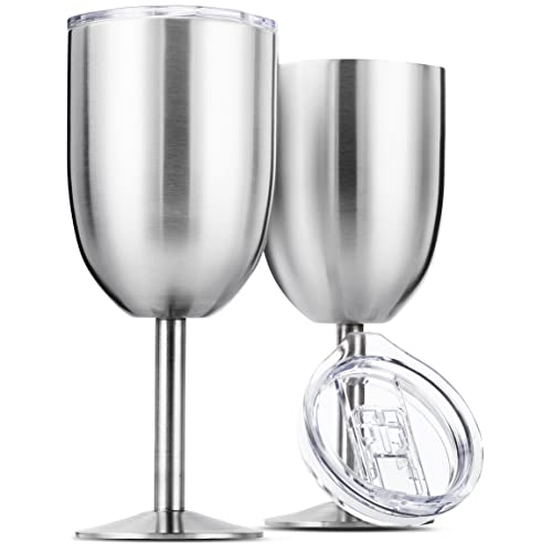 1803cf0233c Stainless Steel Wine Glasses, Double Wall Insulated with Lids - Set of 2,  Metal