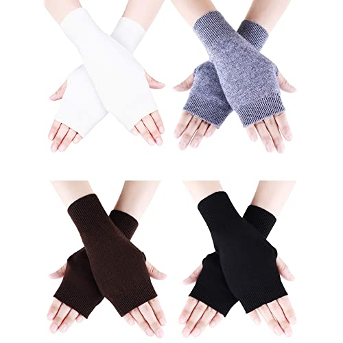 4 Pairs Cashmere Feel Fingerless Gloves W Thumb Hole Warm For Women 19 X 8.8 Cm