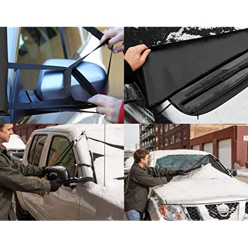 Plus a Set of Side Mirror Covers MT Front Cover FUJI Windshield Cover for Ice and Snow Windshield Snow Cover for Sedan Cars SUV Van Truck Minivans 93/″X 43/″