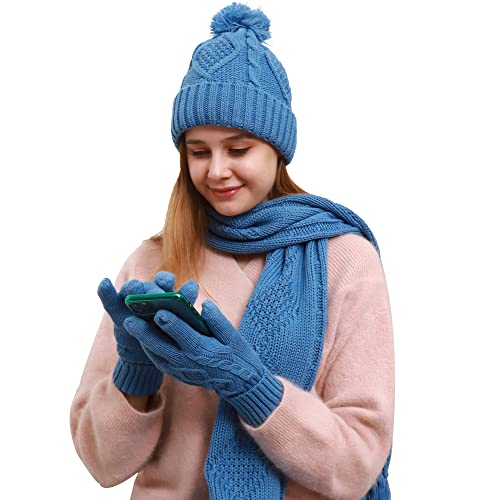 NIce Caps Girls Sherpa Lined Knit Hat Scarf Touchscreen Glove 3PC Skier Set