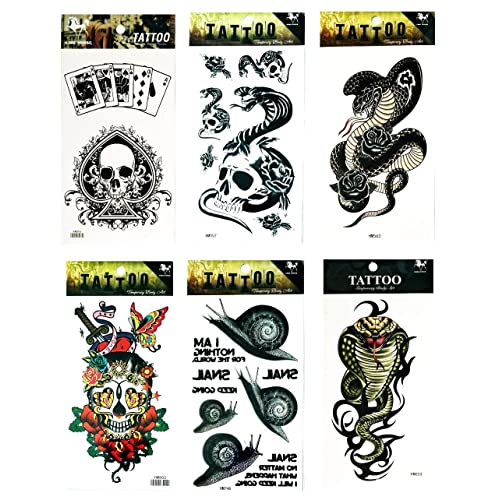 Buy Nipitshop Tattoos 6 Pcs Spades Dice Cards Gambling Poker Skull Roses Butterfly Chinese Kung Fu Dragon Snake Snail Temporary Tattoos Arm Sticker Art Arm Sticker Body Waterproof Tattoo Online In Kuwait