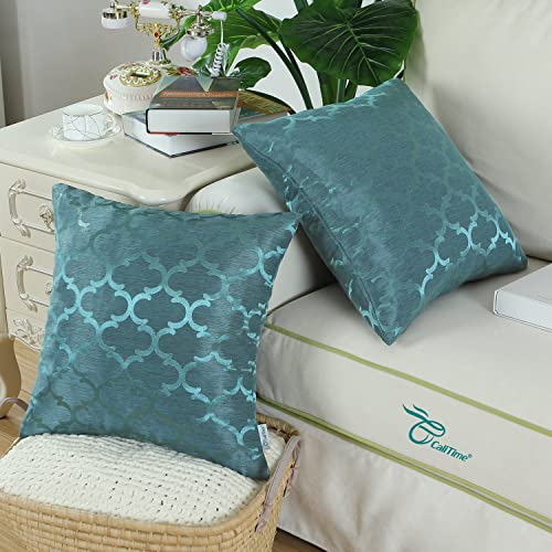2Pcs Turquoise Cushion Covers Shell Diamonds Geometric Chain Embroidered 45x45cm