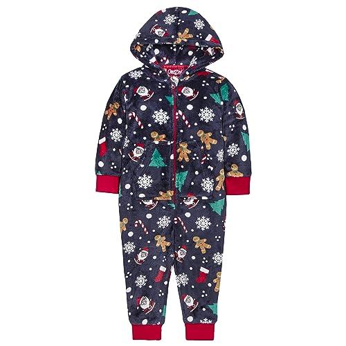Metzuyan Childrens Hooded Christmas Plush Fleece All in One