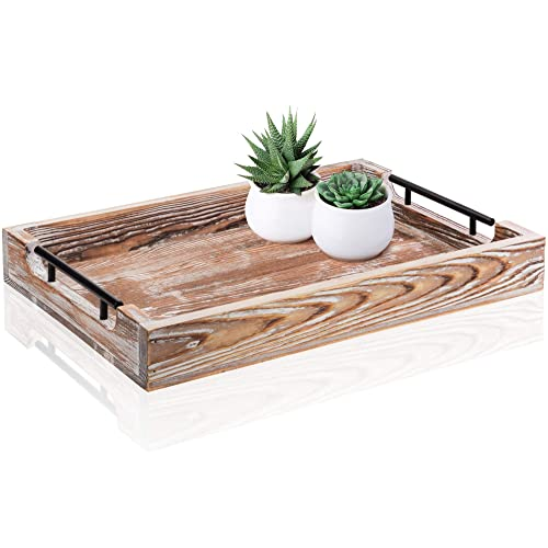 Large Ottoman Tray With Handles 20 X14 Coffee Table Tray Rustic Tray For Ottoman Wooden Trays For Coffee Table Wooden Serving Trays For