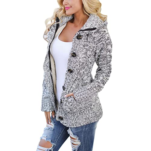 d7adb0388ee6f Buy Sidefeel Women Hooded Knit Cardigans Button Cable Sweater Coat with  Ubuy Kuwait. B0771HFZ7H
