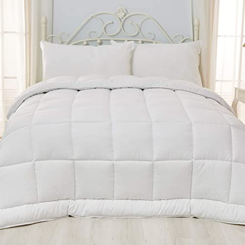 Piped Edges Super Soft White Down Alternative Comforter Twin with Corner Tabs
