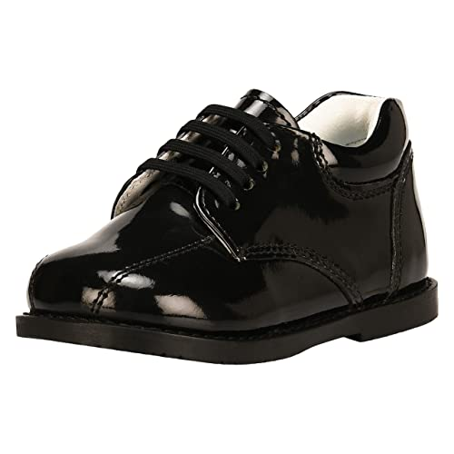 Size 12 US//Age 4-8 Years//Little Kids, Simple Black//White Liberty Boys//Kids Gliders Genuine Leather EEL Skin Printed Lace Up Dress Shoes