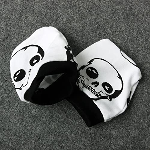 0-6 Months, Black+White Newborn Baby Clothes Boys Girls Romper+Pants+Hat+Mitten Skull Halloween Outfit Set