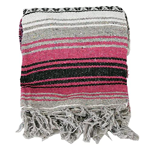 "Authentic Mexican Falsa Blanket Hand Woven Mat Blanket 76"" x 53"" Random color"