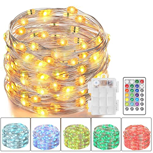 Asmader Led Fairy Lights Battery Powered Multi Color Changing String Lights With Remote Control Waterproof Decorative Silver Wire Lights 16ft 50leds
