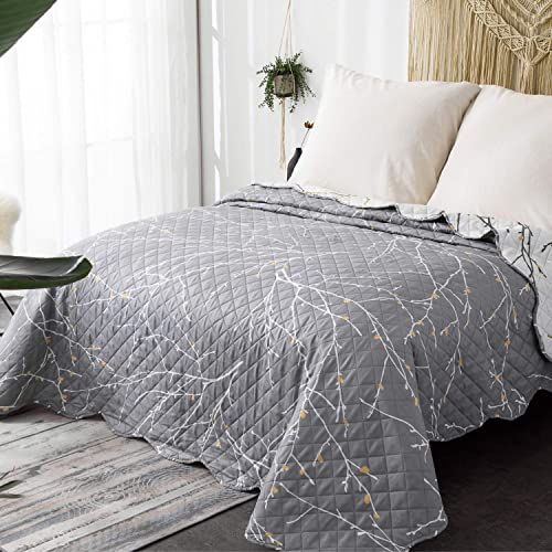DecoKing Single Twin 170x210 cm Reversible Bedspread Quilted Circles Pinsonic Easy Care Lightweight Microfibre Off-White Cream Charcoal Steel Grey