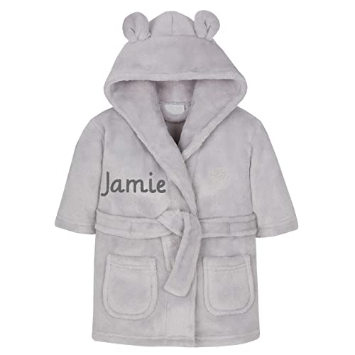 Embroidered Personalised Baby Bath Robe Dressing Gown Boy Girl Gift