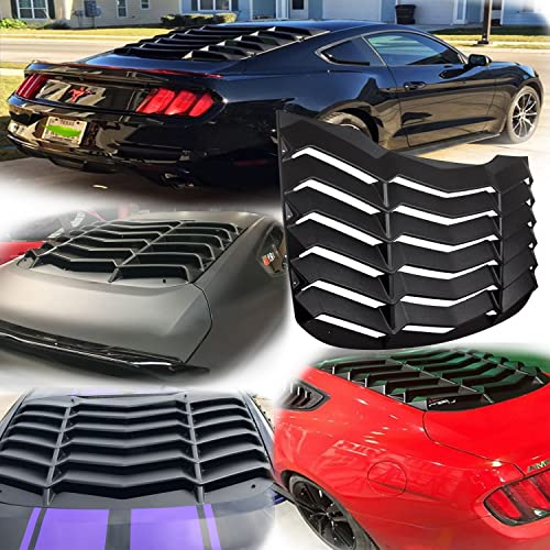 Yoursme Rear and Side Window Louvers for Ford Mustang 2015 2016 2017 2018 ABS Window Cover in GT Lambo Style Matte Black
