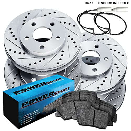 PowerSport Black Drilled Slotted Rotors and Ceramic Pads BBCC.22018.02 FULL KIT