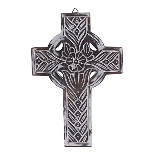 The StoreKing Wooden Wall Hanging French Cross 12 with Celtic Hand Carvings Religious Cross Home Living Room Decor Design6